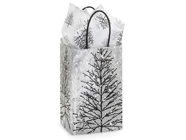 """Frosted Forest Paper Shopping Bags, Rose 5.25x3.5x8.25"""", 25 Pack"""