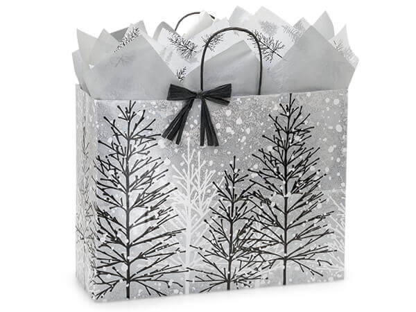 """Frosted Forest Paper Shopping Bags, Vogue 16x6x12.5"""", 25 Pack"""