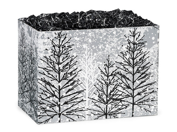 "Frosted Forest Basket Boxes, Small 6.75x4x5"", 6 Pack"