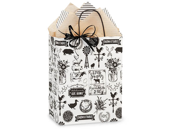 "Farmhouse Favorites Paper Shopping Bags, Cub 8x4.75x10.25"", 250 Pack"