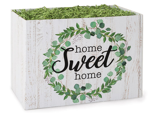 "Farmhouse Home Sweet Home Basket Boxes, Large 10.25x6x7.5"", 6 Pack"