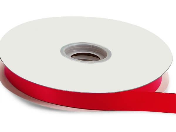 """Hot Red Floral Satin Ribbon 5/8"""" x 100 yds"""