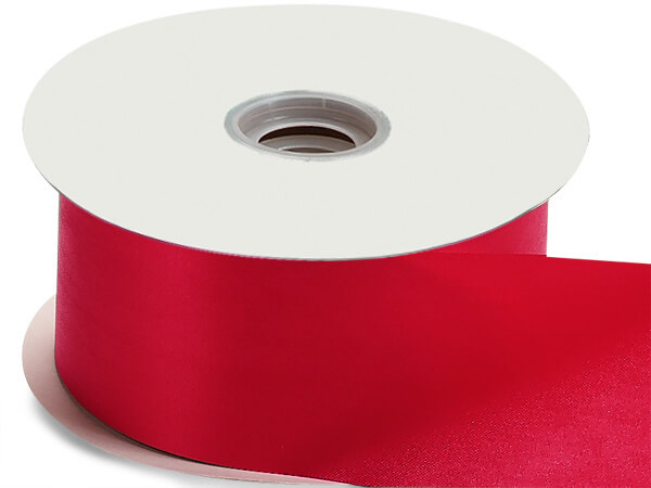 """Hot Red Floral Satin Ribbon 2-3/4"""" x 100 yds"""