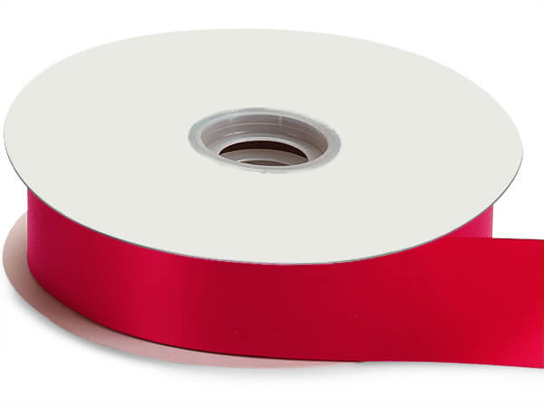 "Hot Red Floral Satin Ribbon 1-7/16"" x 100 yds"