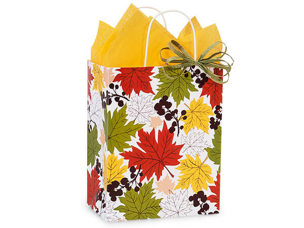 "Falling Leaves Paper Shopping Bags Cub 8.25x4.75x10.5"", 250 Pack"