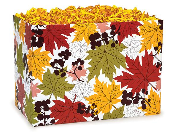"Large Falling Leaves Basket Boxes 10-1/4x6x7-1/2"""