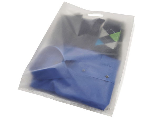 14x3x21 Frosted Clear Merchandise Bags Cut Handle 2 5 Mil