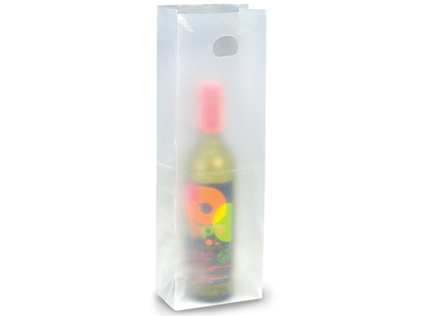 clear frosted plastic gift bags wine 250 pack nashville wraps. Black Bedroom Furniture Sets. Home Design Ideas