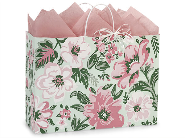 "Fresh Mint Floral Paper Shopping Bags, Vogue 16x6x12"", 250 Pack"