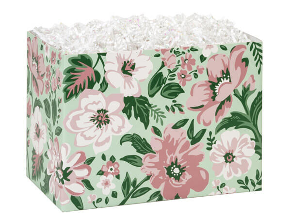 "Fresh Mint Floral Basket Boxes, Large 10.25x6x7.5"", 6 Pack"