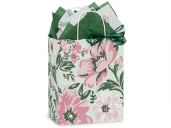 "Fresh Mint Floral Paper Shopping Bags, Cub 8x4.75x10.25"", 25 Pack"