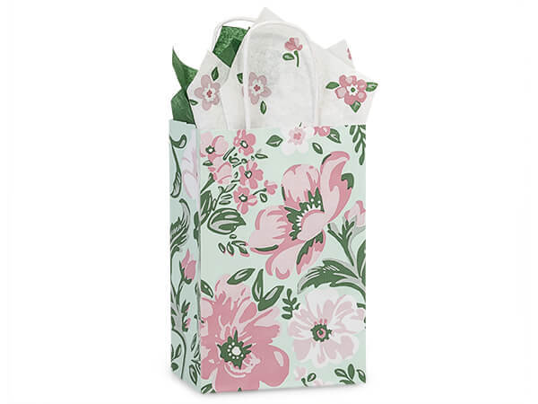 "Fresh Mint Floral Paper Shopping Bags, Rose 5.5x3.25x8.5"", 25 Pack"