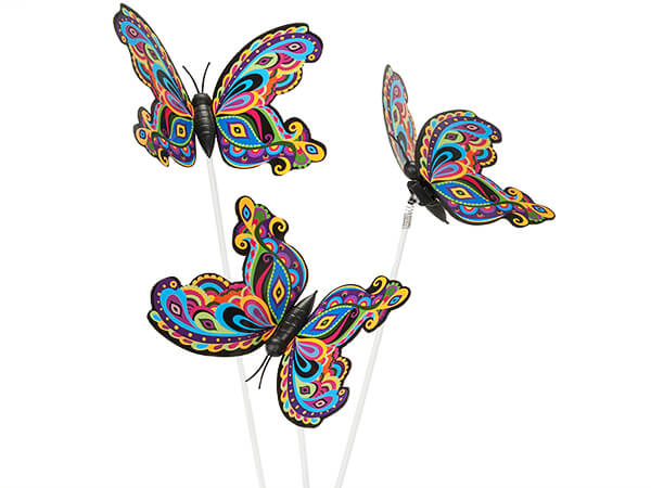 3-D Plastic Multi-Colored Butterfly Floral Picks, 10 Pack