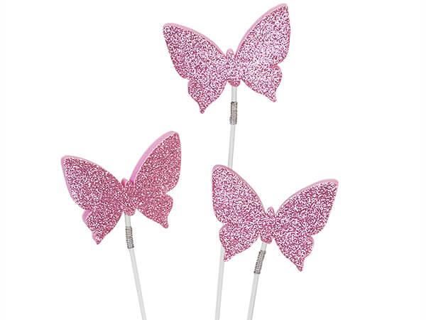Double Sided Pink Glitter Butterfly Picks, 10 Pack