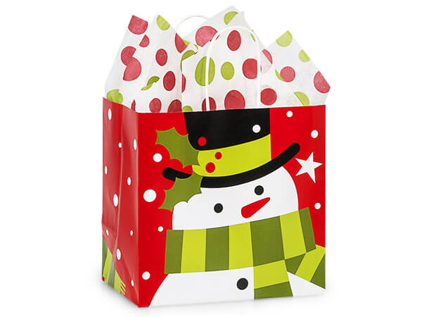 Junior Frosted Snowman Bags 25 8x5x8""