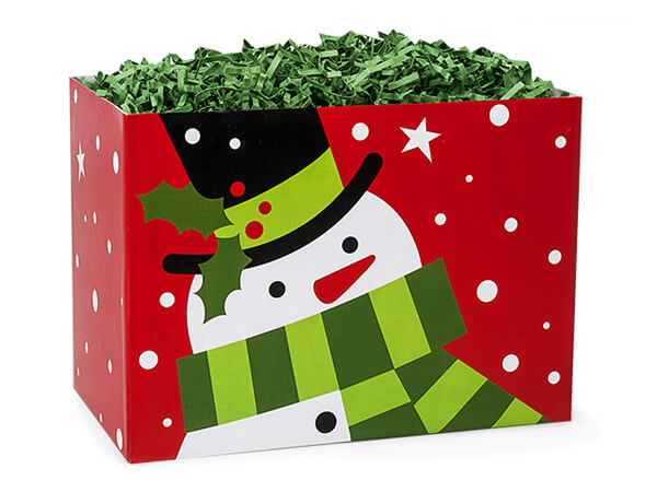 "Frosted Snowman Basket Boxes, Small 6.75x4x5"", 6 Pack"