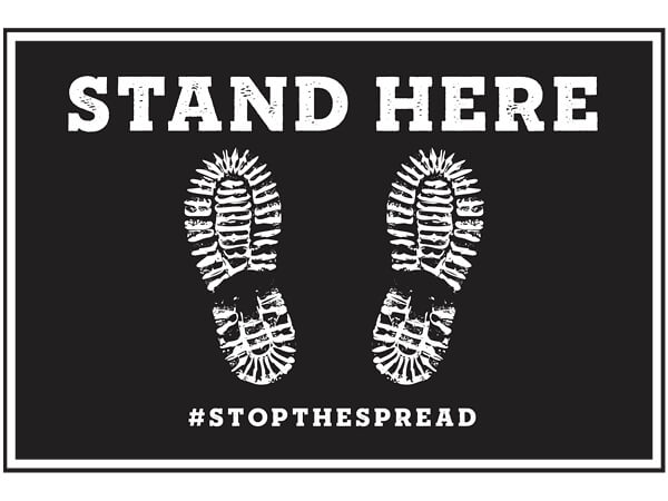 """Stand Here Graphic Floor Sign, Black 12x18""""  Rectangle, 25 Pack"""