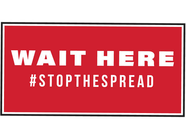 "Wait Here Graphic Floor Sign, Red 6x12"" Rectangle, 25 Pack"