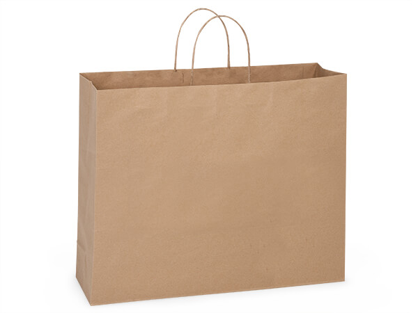 "Turn Top Large Vogue Brown Kraft Bags, 20x6x16"", 125 pack"
