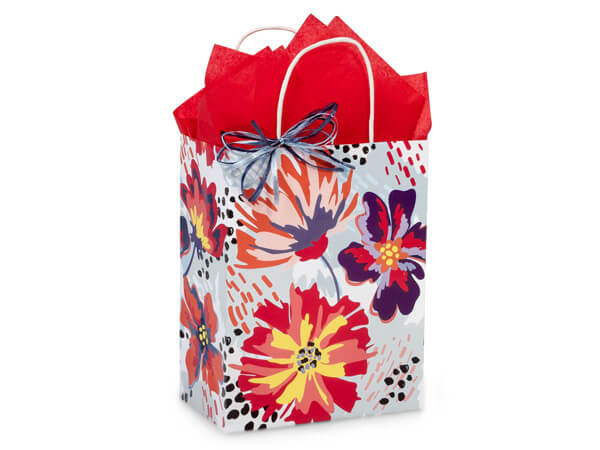 "Flowerworks Paper Shopping Bags, Cub 8.25x4.75x10.5"", 250 Pack"