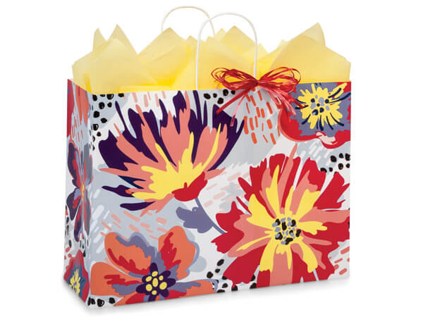 """Flowerworks Paper Shopping Bags, Vogue 16x6x12.5"""", 200 Pack"""