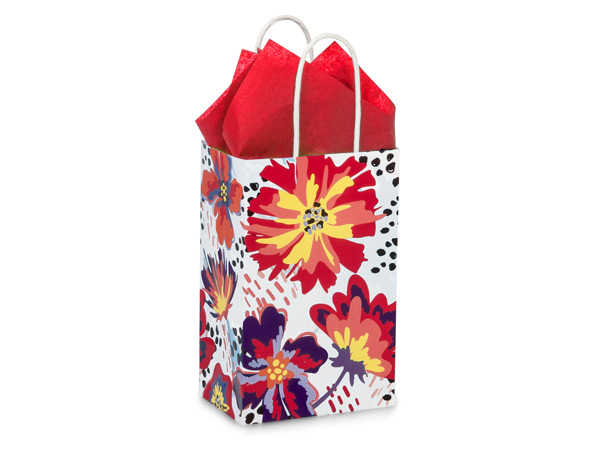 """Flowerworks Paper Shopping Bags, Rose 5.25x3.5x8.25"""", 25 Pack"""