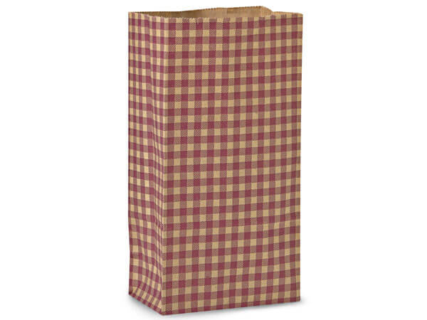 "Burgundy Gingham Gift Sack, 12 lb Bag 7x4.25x13.75"", 250 Pack"