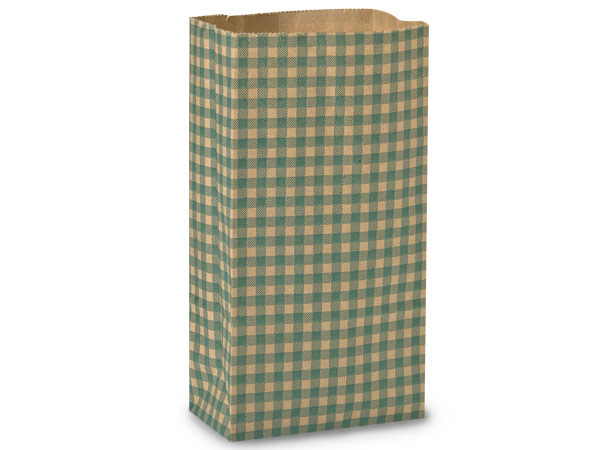 "Hunter Gingham Gift Sack, 12 lb Bag 7x4.25x13.75"", 250 Pack"