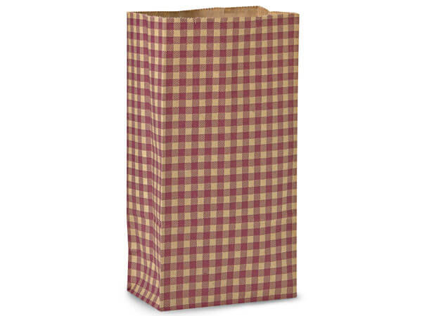 "Burgundy Gingham Kraft Gift Sack, 12 lb Bag 7x4.25x13.75"", 50 Pack"