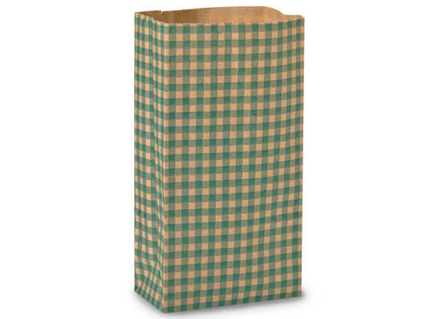 "Hunter Gingham Kraft Gift Sack, 12 lb Bag 7x4.25x13.75"", 50 Pack"