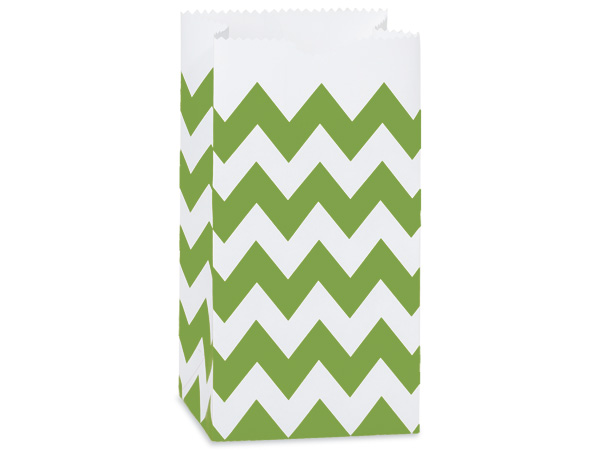 *250 2lb Bag Chevron Apple Green Gift Sack 4-1/4x2-3/8x8-3/16""