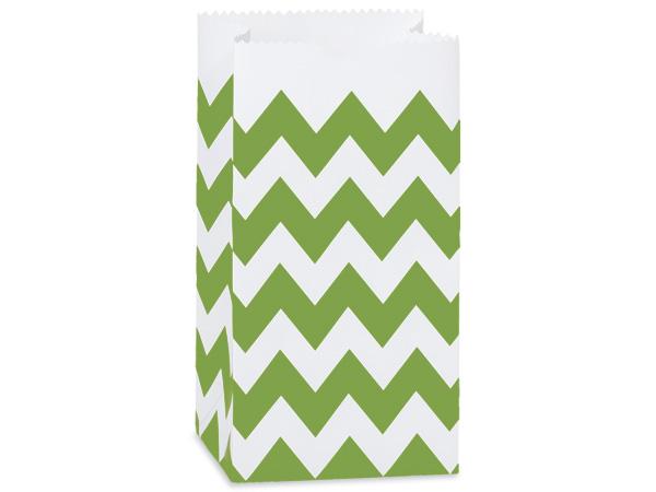 "250 2lb Bag Chevron Apple Green Gift Sack 4-1/4x2-3/8x8-3/16"""