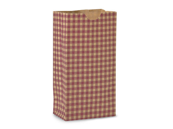 "Burgundy Gingham Gift Sack, 2 lb Bag 4.25x2.25x8"", 250 Pack"