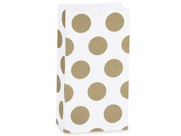 "Gold Polka Dots Gift Sack, 2 lb Bag 4.25x2.25x8"", 250 Pack"