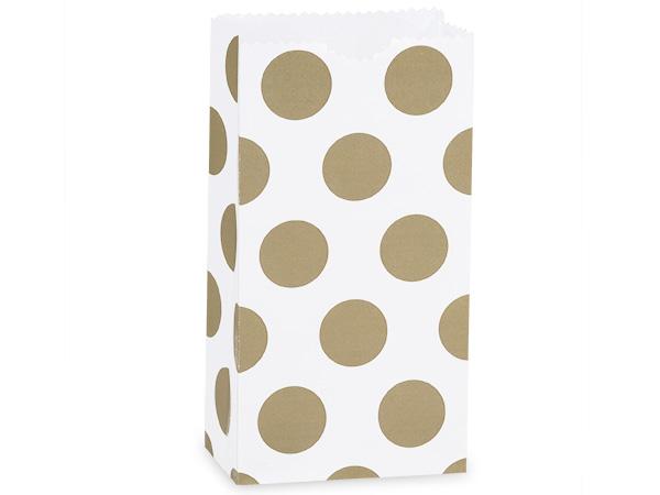 """250 2lb Bag Gold Dots Gift Sack 4-1/4x2-3/8x8-3/16"""""""