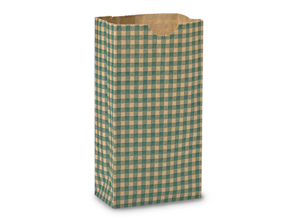 "250 2lb Gift Sacks Hunter Gingham Kraft 4-1/4""x2-3/8""x8-3/16"""