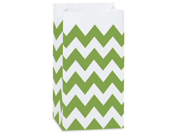 50 Pk 2lb Bag Chevron Apple Green Gift Sack 4-1/4x2-3/8x8-3/16""
