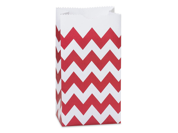 50 Pk 2lb Bag Chevron Red Gift Sack 4-1/4x2-3/8x8-3/16""