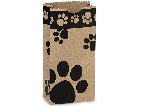 """Kraft Paw Print Gift Sack, 2 lb Bag 4.25x2.25x8"""", 50 Pack"""