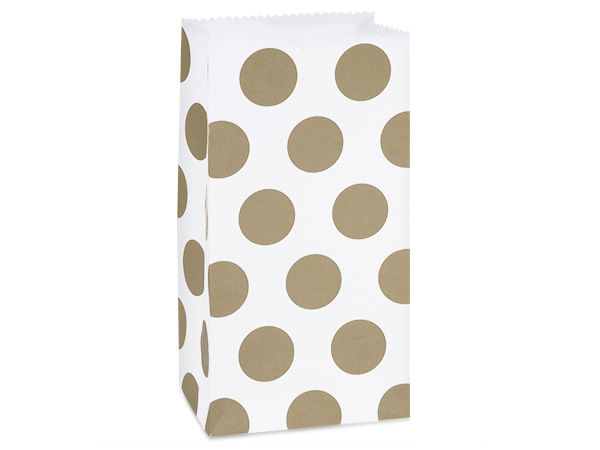 "Gold Polka Dots Gift Sack, 4 lb Bag 5x3x9.5"", 250 Pack"