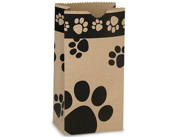 "Kraft Paw Print Gift Sack, 4lb Bag 5x3x9.5"", 250 Pack"