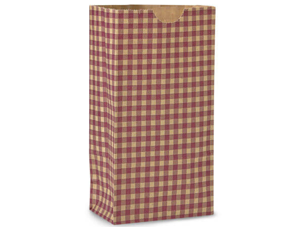 "Burgundy Gingham Gift Sack, 4 lb Bag 5x3x9.5"", 50 Pack"
