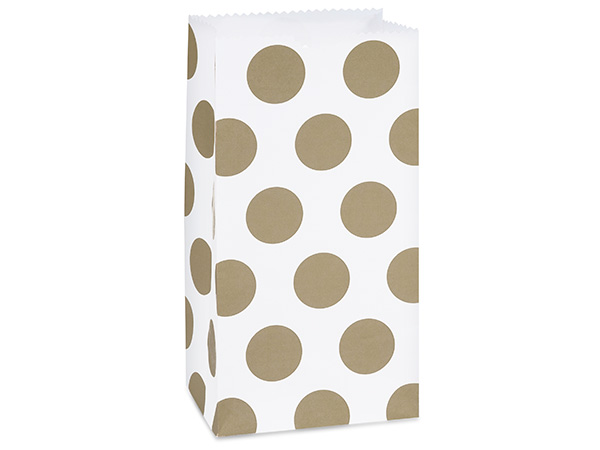 "Gold Polka Dots Gift Sack, 4 lb Bag 5x3x9.5"", 50 Pack"
