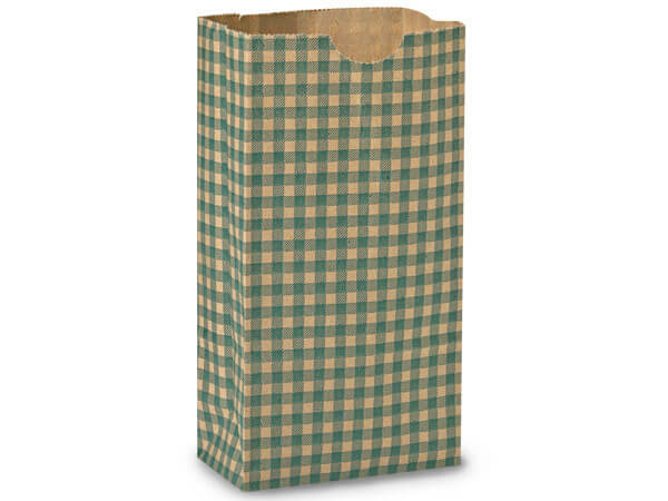 "Hunter Gingham Gift Sack, 4 lb Bag 5x3x9.5"", 50 Pack"
