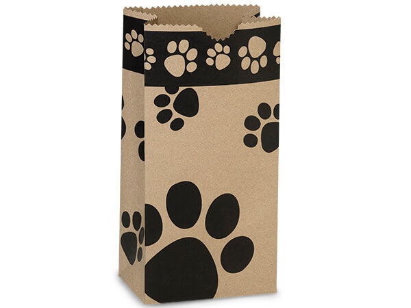 "Kraft Paw Print Gift Sack, 4 lb Bag 5x3x9.5"", 50 Pack"