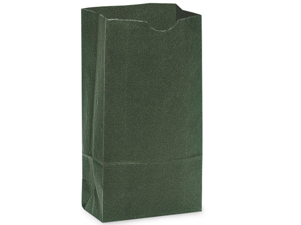 500 6 lb Gift Sacks Hunter Green Kraft 6x3-5/8x11-1/16""
