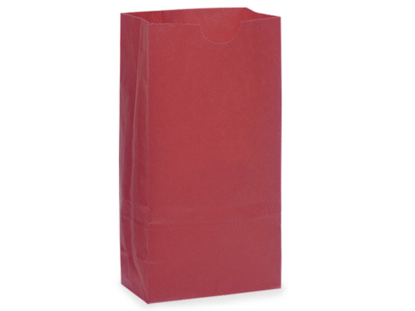 500 6 lb Gift Sacks Red Kraft 6x3-5/8x11-1/16""