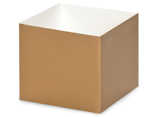 "Metallic Gold Box Bases, 4x4x3.5"", 5 Pack"