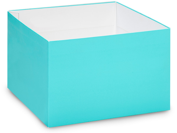 "Matte Turquoise Box Bases, 8x8x5"", 25 Pack"