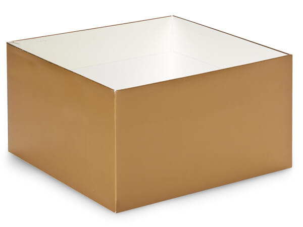 "Metallic Gold Box Bases, 10x10x5.5"", 10 Pack"
